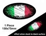 Fade To Black OVAL Design & Italy Italian il Tricolore Flag Vinyl Car sticker decal 150x75mm